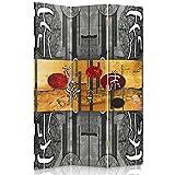Feeby Frames Il paravento Stampato su Telo,Il divisorio Decorativo per Locali, bilaterale, a 3 Parti (110x150 cm), Scrittura Giapponese, CIRCOLI, ASTRAZIONE, Nero Bianco, Arancione