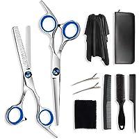 Adkwse Haarschneideschere,Friseurscheren Set Rostfreiem Stahl,Haarschere Set mit Friseurumhang, Effilierschere…