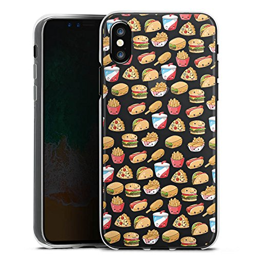 Apple iPhone X Silikon Hülle Case Schutzhülle Junkfood Transparent mit Muster Kawaii Manga Style Silikon Case transparent