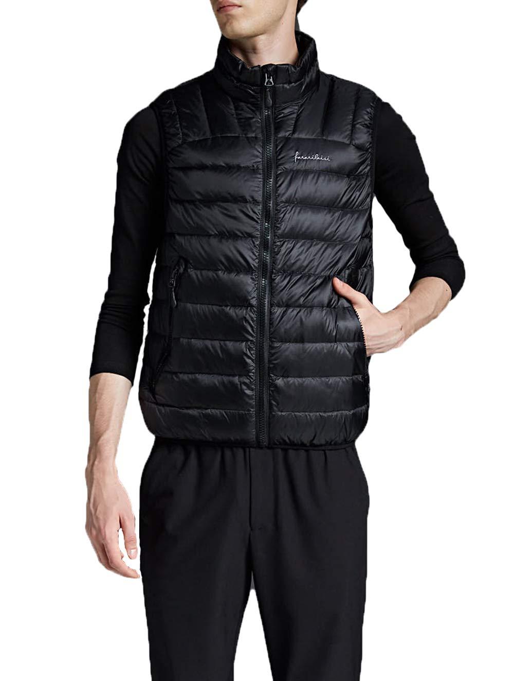 61d2qucFefL - NBWS Men's Down Vest Quilted Gilet Mandarin Collar Vest Bodywarmer Sleeveless Slim-fit Outdoor Vests