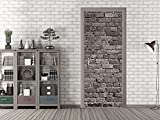 GRAZDesign 791679_80x205 Tür-Bild Steinmauer Grau | Aufkleber Fürs Wohnzimmer | Türfolie Selbstklebend (80x205cm//Cuttermesser)