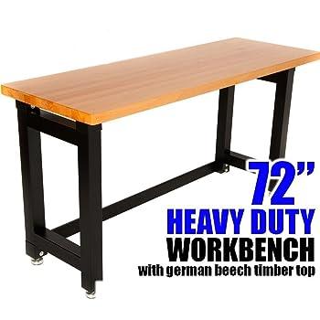 60 Hardwood Workbench With 4 Drawers Amazoncouk Diy Tools