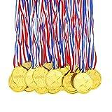 Pllieay 100 Pièces Médailles Enfants Médailles Or en Plastique pour Compétition, Thème Sport Day, Récompenses...