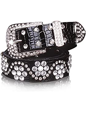 Señoras Imprimir Cuero Cinturón,El Diamante Elegante Salvaje Cinturón Decoración Vestido Jeans Cinturón