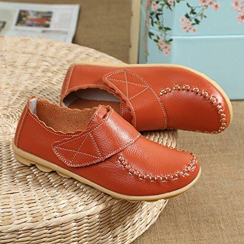 Mocassins En Cuir Femmes Mocassins Elégants Velcro Confort Bateau Chaussures Orange Noir Blanc Rouge 35-41 Orange