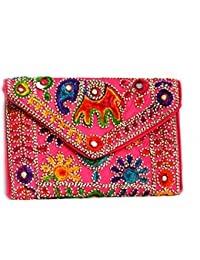 Art Godaam Hand Stiched Cotton Embroidery Clutch - B07CP32X79