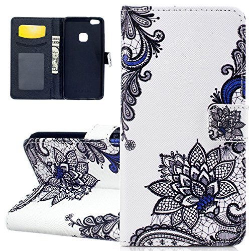 Custodia per Huawei P10 Lite - Cover per Huawei P10 Lite - ISAKEN Accessories Cover in PU Pelle Portafoglio Custodia, Elegante Embossed Pattern Design in Sintetica Ecopelle Libro Bookstyle Wallet Flip Trible fiori nero