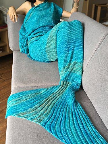 YiZYiF Meerjungfrau Decke Handgemachte Schwanz-flosse Strickdecke Blanket Sofa Schlafdecke für Damen, Baby und Mädchen (Für Erwachsene, Blau)
