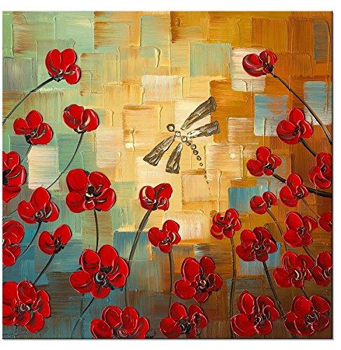 wieco Kunst–Modern Flowers Artwork 100% Libelle Handbemalt gespannt und gerahmt Floral Öl Gemälde auf Leinwand Art Wand fertig zum Aufhängen für Schlafzimmer Küche Esszimmer Home Dekorationen
