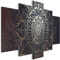 murando - Cuadro acústico Mandala 100x50 cm - decoración de Pared - Lienzo 5 Piezas - Cuadros XXL - Panel de Pared - Silencio - Oriente p-A-0029-b-n