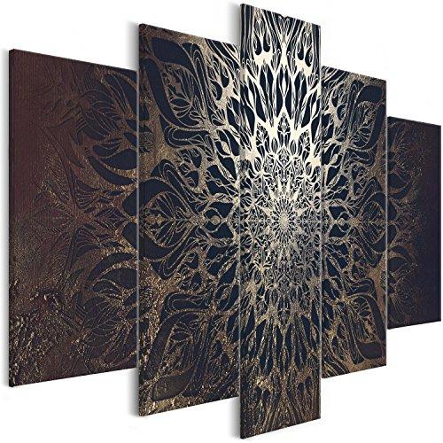 murando - Cuadro en Lienzo Mandala 200x100 cm - Impresion en Calidad fotografica - Cuadro en Lienzo Tejido-no Tejido – 5 Partes – Oriente p-A-0029-b-n
