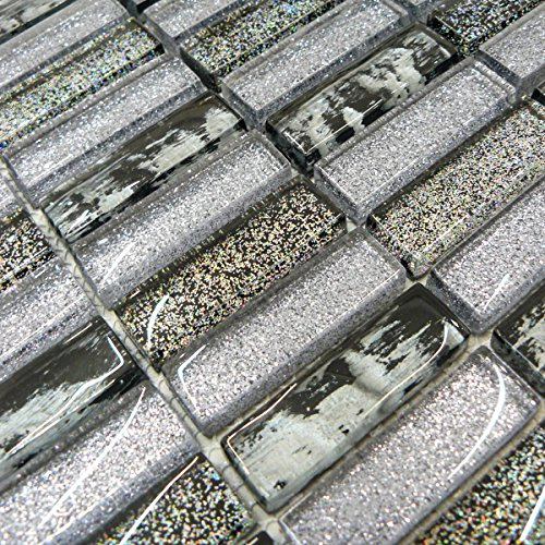 Grey & Black Glass Glitter Mosaic Tiles Sheet For Walls Floors Bathrooms Kitchen (1 Sheet 30cm X 30cm)