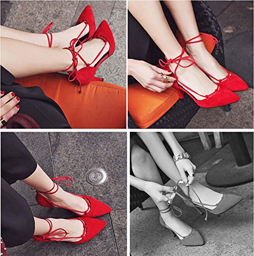 Beauqueen Casual Pumps Party Work Scrub Chaussures Summer Women Slingbacks Stiletto Simple Vintage Europe Taille 34-39 Red