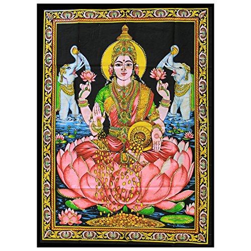 indien-baumwoll-wandtuch-laxmi-lakshmi-indische-gottheit-kraftige-farben-75-x-110-cm