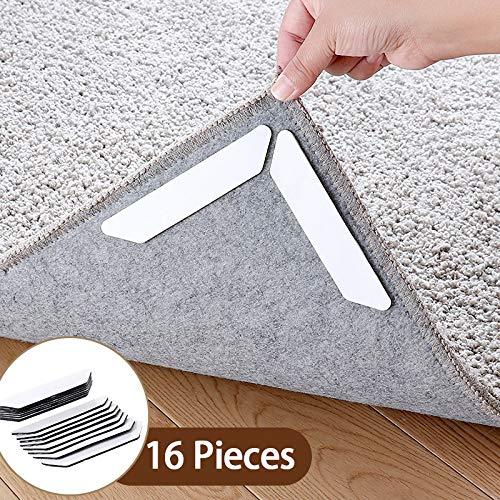 Tappeto gripper 16 pcs adesivo antiscivolo sottotappeto riutilizzabile per tappeti moquette fissa angoli tappeto anti-arriccia forte presa rug grippers pad(bianco)