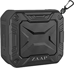 ZAAP Aqua Boom Waterproof/Shockproof Bluetooth Speaker with Built-in Microphone,(Black) Universal Compatibility