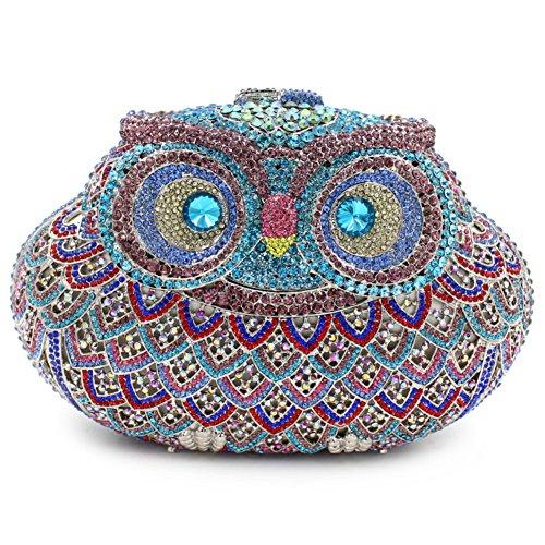 Damen Clutch Abendtasche Handtasche Geldbörse Funkelt Glitzer Kristall Luxus Eule Tasche mit wechselbare Trageketten von Santimon(15 Kolorit) Blau
