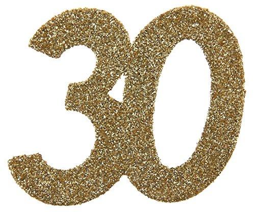 SANTEX 4604-30, Sachet de 6 confettis 6x5cm anniversaire, Or pailleté 30 ans