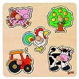 Goki 57546 - Steckpuzzle - Auf dem Land, basic