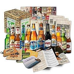 Biere der Welt (12 Flaschen) internationale Bier Spezialitäten zum verschenken - Beste Biere der Welt mit Geschenkkarton (Bier + Tasting-Anleitung + Bierbroschüre + Brauereigeschenke + Geschenkkarton)