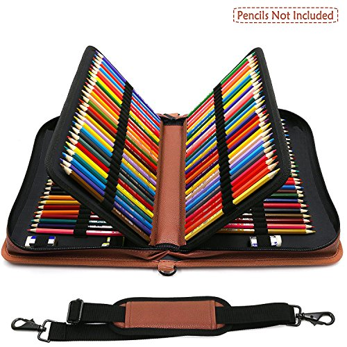 160 Slots Bleistifttasche - PU Leder Large Capacity Zipper Pen Tasche Praktische Bleistift Wrap mit...