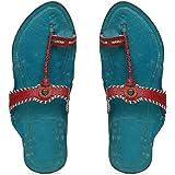 KALAPURI� Ladies Kolhapuri Chappal in Genuine Leather with Blue Pointed Shape Base and Tiny Brown Upper. Handmade in Kolhapur