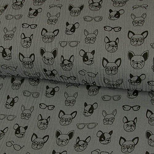 Stoffe Werning Baumwoll Musselin Double Gauze coole Hunde mit Brille anthrazit Kinderstoffe - Preis gilt für 0,5 Meter –