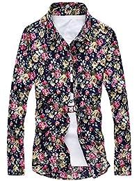 Camisas Hombre Manga Larga Camisa - hibote Slim Fit Camisas Modernos Flores Imprimir Top Casuales Suave Cómodo Tops