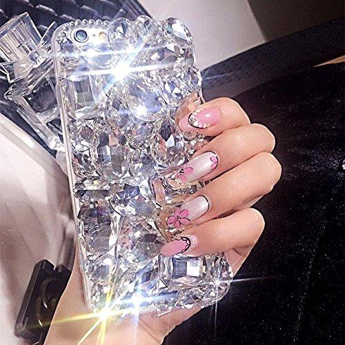 Coque iPhone X,Étui iPhone X,Coque Étui pour iPhone X,ikasus® Coque iPhone XSilicone Étui Housse Téléphone Couverture TPU + Hard PC avec 3D de luxe fait main brille bling diamants strass pleins crista Clair