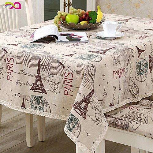 QHGstore Stile Europeo tovaglia di lino Torre Eiffel di tè Tovaglia con bordo in pizzo 90*90cm - Eiffel Lino