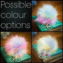 3para 2. 12cm grande suave piel sintética/Artificial Mapache estilo Pom Pom Big funda oro llavero cierre encanto, Hologram Multi Magic Rainbow