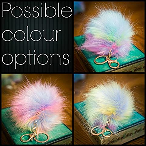 1x Single Pompom - 12cm Hologram Random Multi Magic Rainbow Large Fluffy FAUX / FAKE fur raccoon style pom pom big designer gold keyring clasp charm (Hologram Multi Magic Rainbow)