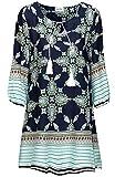 KorMei Damen Rundhals 3/4-Arm Tunika Strandkleid Minikleid Bohemian Kleider Blau Blumen M
