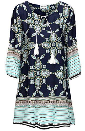 KorMei Damen Rundhals 3/4-Arm Tunika Strandkleid Minikleid Bohemian Kleider Blau Blumen L