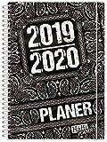 Häfft PLANER Premium A5 2019/2020 [Black & White] Extra stable et flexible – Cahier de textes de maison, agenda scolaire, planning d'élèves avec coussins, inscriptions amusantes et autocollants sympa...