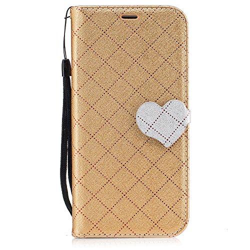 Qiaogle Telefon Case - PU Leder Wallet Schutzhülle Case für Apple iPhone 6 Plus / iPhone 6S Plus (5.5 Zoll) - BF88 / Weiß BF84 / Golden
