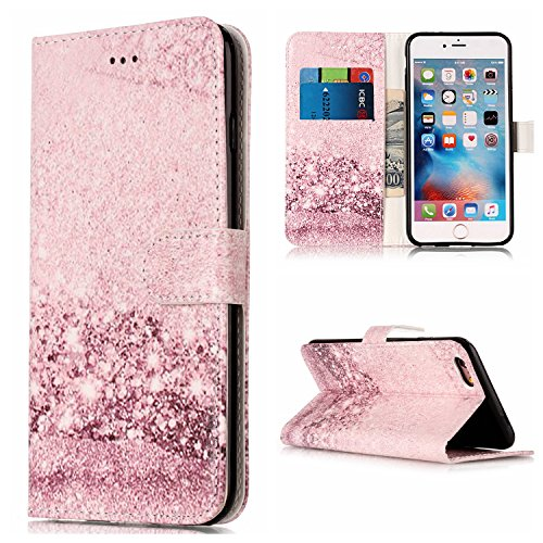 Price comparison product image iphone 6 6S Case Leather [Cash and 3 Card Slots], Cozy Hut Premium Retro Marble Embossed Patterned PU Leather Stand Function Protective Cases Covers with Card Slot Holder Wallet Book Design Magnetic Closure Secure Lock Case for iphone 6 6S - Rose gold