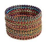 #6: Mansiyaorange Party Casual WearTraditional Rajhasthani Silk Thread work AD Stone Bangles Set For Women