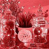 ODJOY-FAN 6 Stück 3m 30LED Fee Licht Zeichenfolge Licht Batterie Sternenklar Zeichenfolge Kupfer Draht Dekor Weihnachten Wohnaccessoires Beleuchtung String Light (Rosa,6 PC)