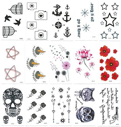Chileeany set di 15 fogli tatuaggi temporanei,impermeabile tatuaggio temporaneo (105×60mm)