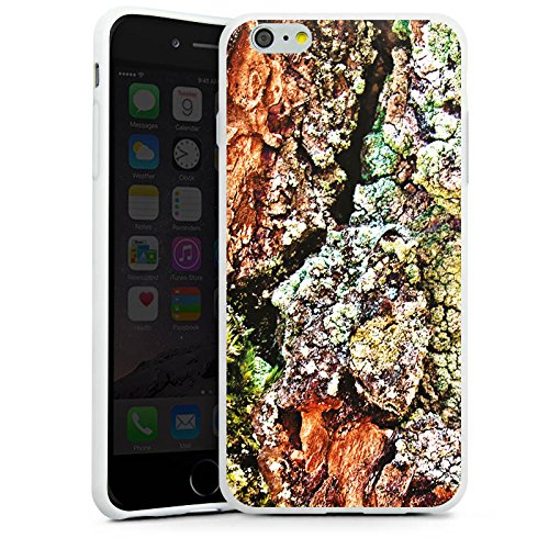 Apple iPhone X Silikon Hülle Case Schutzhülle Rinde Holz moos Silikon Case weiß