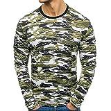 Honestyi Männer Herbst Casual Camouflage Langarm Sweatshirt Tops Blusen Männer Camouflage Print Top(Armeegrün,L)