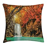 FAFANIQ Farm House Decor Throw Pillow Cushion Cover, Majestic Waterfall Cascade in Forest Flows down Crystal Pure Habitat View, Decorative Square Accent Pillow Case, 18 X 18 Inches, Orange Blue
