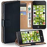 moex iPhone 4S | Hülle Schwarz mit Karten-Fach 360° Book Klapp-Hülle Handytasche Kunst-Leder Handyhülle für iPhone 4/4S Case Flip Cover Schutzhülle Tasche