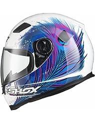 Shox Sniper Peacock Damen Motorrad Roller Rennsport Integralhelm S Weiß/Blau/Rosa