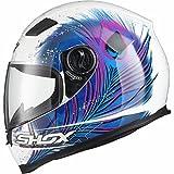 Shox Sniper Peacock Damen Motorrad Roller Rennsport Integralhelm M Weiß/Blau/Rosa