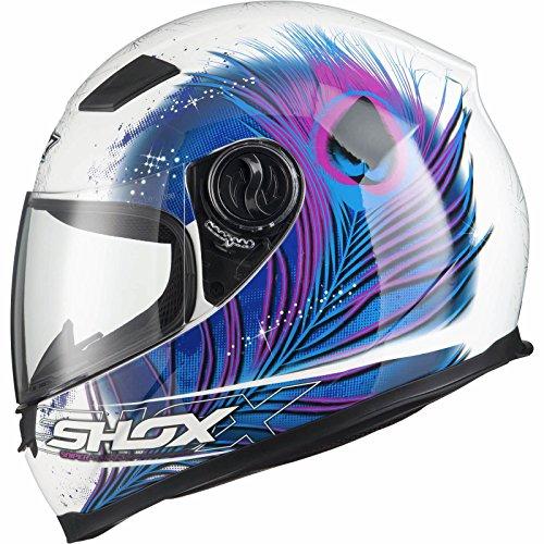 *Shox Sniper Peacock Damen Motorrad Roller Rennsport Integralhelm S Weiß/Blau/Rosa*