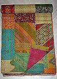 NEU Hand genäht Multi Print Patch gearbeitet Cotton Kantha Quilt Bohemian