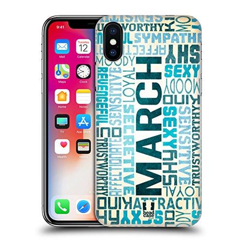 Head Case Designs Gennaio Personalità Dei Mesi Di Nascita Cover Retro Rigida per Apple iPhone X Marzo