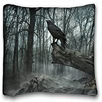 Decorative Square Throw Pillow Case Animals Birds poe the crow raven gothic trees darl mood 18in x 18 in Two Sides by On July